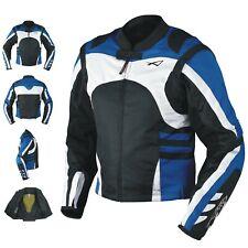 Giacca Moto Tessuto Cordura Manica Staccabile Racing Sport Touring Blue