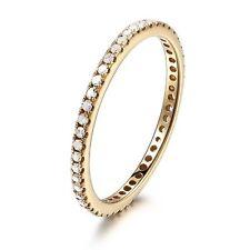 Pave Diamond 18K Yellow Gold Engagement Ring Wedding Full Eternity Matching Band
