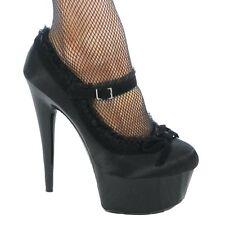 Erosella Chloe Satin Dolly Court Shoe With Velvet Bow And Lace Trim Black/Black