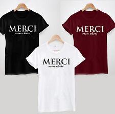 Merci mon Cheri T-Shirt-Slogan Statement Französische Liebe Damen oder Unisex Cool