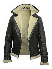 Brandslock Ladies Aviator New Real Shearling Sheepskin Flying Leather Jacket