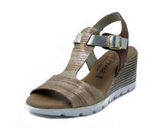 Sandalo T-BAR in pelle oro e bronzo, zeppa 6 cm, Raquel Perez