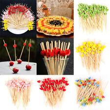 100Pcs Fruit Picks Cocktail Sticks Cupcake Topper Dessert Toothpick Party Decor