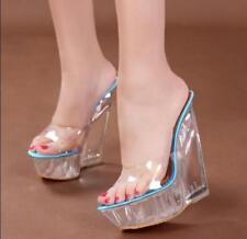 Fashion Womens Transparent Upper Wedge Heel Sandals Slipper Platform Shoes Ths01