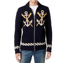Tommy Hilfiger Men's Naval Wool Zip-Front Cardigan Sweater, Navy Blue, M/2XL