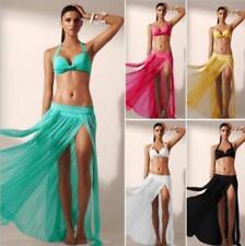 Sheer Chiffon High Split Long Maxi Skirt beach skirt 5 color without bikini