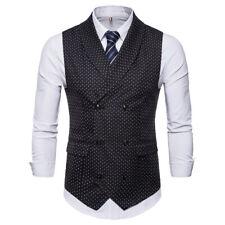 New Fashion Mens Vests Double Breasted Polka Dot Slim Waistcoats ZM3046