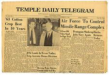 JFK Lands in Texas Today Newspaper John Kennedy