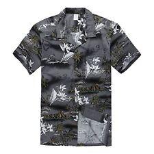 Men Hawaiian Shirt Cruise Tropical Luau Beach Aloha Party Gray Surf Palm Map