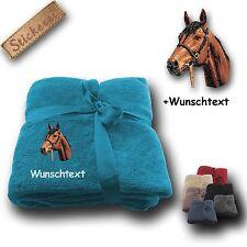 Flauschige Kuscheldecke Decke bestickt Stickerei Pferd Pferdekopf + Name