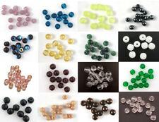Czech Glass Druk Beads 4mm Round 16 COLOURS Pressed 75x