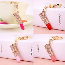 Crystal Rhinestone Lipstick Keyring Charm Pendant Bag Purse Car Key Chain GiftfC