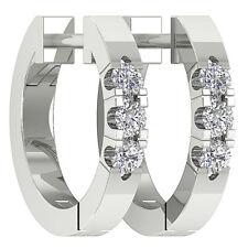VVS1 F 0.20Ct Genuine Diamond 14Kt White Gold Appraisal Prong Set Hoop Earrings