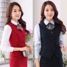 Women Waistcoat Vest Formal Business Work Wear Slim Fit Button V Neck Gilet Tops