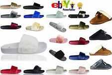Womens Slip On Flat Farrah Rubber Slider Mules Fur Slipper Rihanna Sandals Shoe