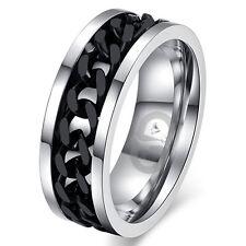 Men's Solid Titanium Wedding Engagement Bridal Band Black IP Chain Inlay Ring