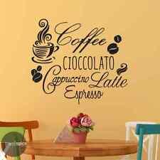 Coffee Cioccolato Cappuccino Latte Espresso Vinyl Wall Decal Sticker
