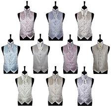 "Men's Scroll Special Occasion Wedding Groom Waistcoat & Cravat - Size 34"" - 60"""