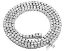 "10K White Gold 1 Row Tennis Chocker Real Diamond Necklace Chain 3mm 16""-26"""