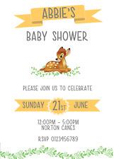 Disney Bambi Baby shower invitations Personalised orange