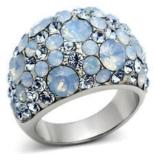 1147 Anillo de cúpula simulada Diamante auqua Marine Azul Chispeante De Acero Inoxidable