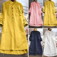 Women Retro Long Sleeve Button Tops Baggy Blouse Casual Loose Shirt Dress UK