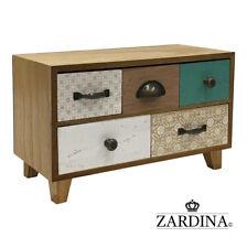 Elona - Mini Velveted 5 Drawer Wooden Jewellery Box / Storage Cabinet