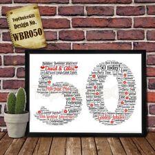50th Wedding Anniversary Personalised Present Print wordart greeting poster gift