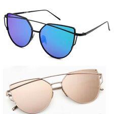 Fashion Vintage Mirrored Oversized Sunglasses Women's Glasses Metal Flat Lens