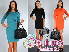 NEW Women's Stylish & Elegance Dress with Bow 3/4 Length Sleeve Size 8-14 FA31