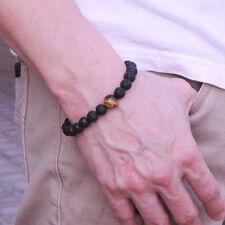 Men Women 8MM Tiger Eye Matte Onyx Gemstone Power Stretch Beaded Bracelets Gift