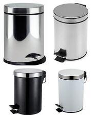 Stainless Steel Pedal Bin 5 Liter Brushed Steel & 3L Oval Toilet Bathroom
