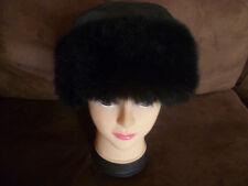 New Zealand Possum Dyed Fur Black Leather Pillbox Trim Hat