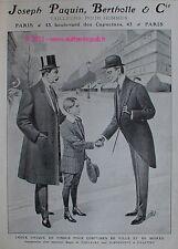 PUBLICITE ANCIENNE DE 1909 BERTHOLLE JOSEPH PAQUIN TAILLEUR COSTUME VETEMENTS AD