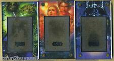 (3) STAR WARS 24 KT GOLD CARD LIMITED RARE SET LEATHER CASE #570/1997