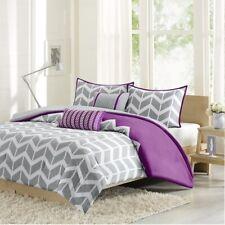 Grey Purple & White Chevron Reversible Comforter Set AND Decorative Pillows
