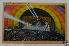 Linen Postcard Radio City Music Hall Unused