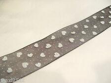 5m x 25mm Organza Ribbon : 62 Black with White Hearts