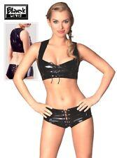 Lack Top und Pants schwarz Black Level sexy gogo Schnüre vinyl M L XL