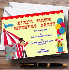 CIRCO CLOWN e Tenda tema Personalizzati Festa di Compleanno Inviti-TH19
