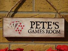 Personalizado Caseta signos sala de juegos signos Poker signos propio nombre propio texto Tarjetas
