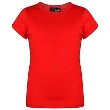 Infantil Rojo Diseñador Camisetas 100% Algodón Liso Escuela Camiseta 3-13 Año