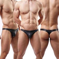 Sexy Mens Underwear Briefs Faux Leather Jockstrap Thong G-String Short Pants