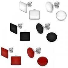 2 Par Pendientes de Botón Acero Inoxidable Redonda Anguloso Negro Rojo Blanco