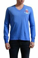 Dsquared2 Uomo Sdrucito Blu Manica Lunga T-Shirt con Scollo a V MISURA S-L