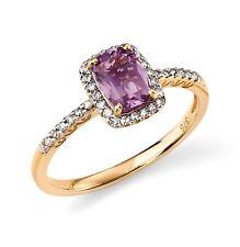 Design - ELEMENTS ORO - 9ct ORO GIALLO ANELLO AMETISTA & Diamante