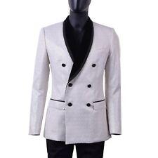 DOLCE & GABBANA Double-Breasted Brocade Tuxedo Blazer Jacket White Silver 06002