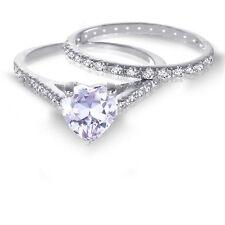 White Gold Heart Lavender Alexandrite 1.92 CT Wedding Engagement Silver Ring Set