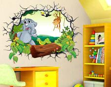 Adesivi Murali Bambini Buco nel muro 3D Elefante Scimmietta Wall Stickers Camera