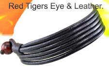 4B-011 CUSTOM MADE Red Tiger Eye & Leather Double Wrap Wristband Men Bracelet.